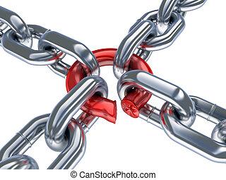 cadena, y, malo, anillo