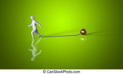 cadena, y, pelota, -, 3d, ilustración