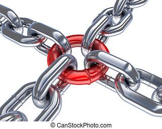 cadena, y, rojo, anillo