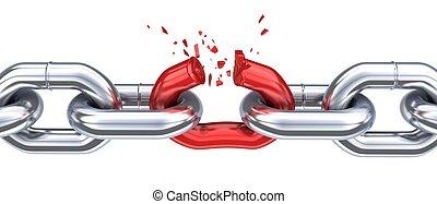 cadena, y, roto, rojo, enlace