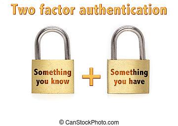 cadenas, authentication, isolé, factor, deux, blanc, concept