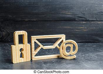 cadenas, bois, concept, secrets., secrets, protection, commercer, dédicace, stands, personnel, banque, email, suivant, information, données, conservation, secrecy., envelope., réseaux