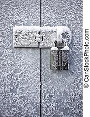 cadenas, dans, hiver