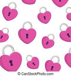 cadenas, fond, forme coeur, icônes