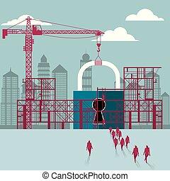 cadenas, hommes affaires, construction., site., bâtiment, sous, groupe, marché