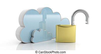 cadenas, informatique, ouvert, isolé, 3d, nuage, blanc, illustration, arrière-plan.