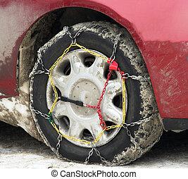 cadenas, nieve, neumático