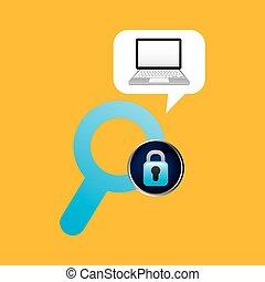 cadenas, ordinateur portable, données, recherche, assurer