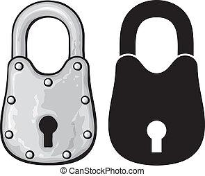 cadenas, rouillé, (vieux, padlock)