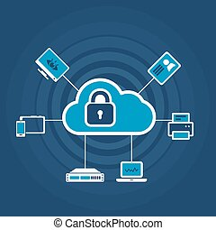 cadenas, sécurité, concept, nuage, icône