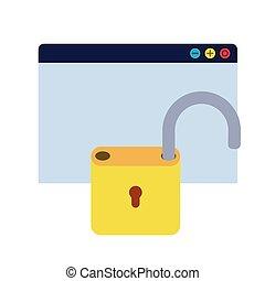 cadenas, sécurité, icône, bouclier, isolé