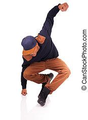 cadera, aislado, norteamericano, bailarín, salto, africano