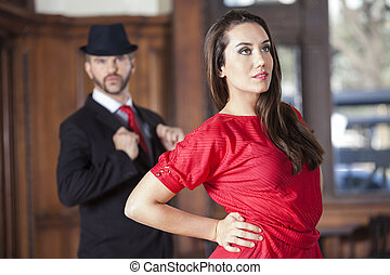 cadera, amaestrado, tango, mano, bailarín, hombre
