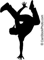 cadera, bailarín, silueta, salto