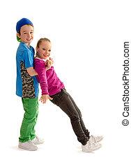 cadera, baile, niños, salto, socios