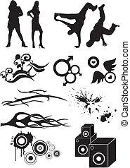 cadera, gráfico, salto, icono