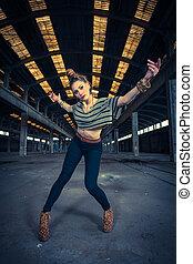 cadera, industrial, abandonado, bailarín, salto, vestíbulo