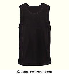 cadera, maqueta, camisa, sin mangas, man`s, vector, negro, ...