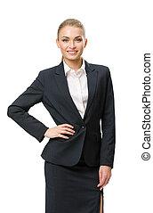 cadera, mujer de negocios, retrato de medio cuerpo, retrato...