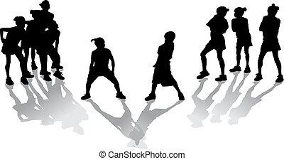 cadera, niños, salto
