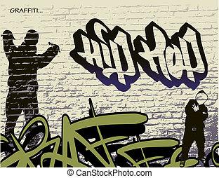 cadera, pared, grafiti, salto, persona