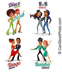 cadera, rumba, bailando, tango, disco, parejas, salto, caricatura