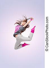 cadera-salto, bailarín, niña