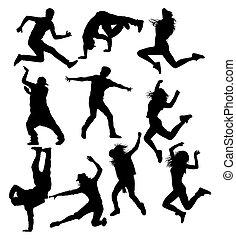 cadera, siluetas, calle, salto, bailando