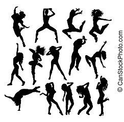 cadera, siluetas, salto, bailando
