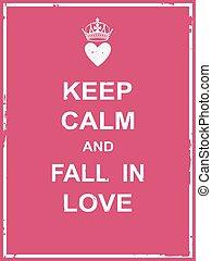 cadere, amore, calma, custodire