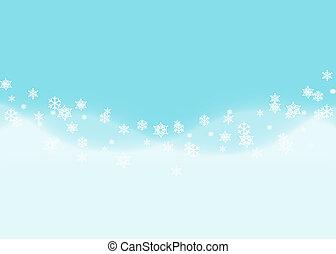 cadere, fiocchi neve, con, onda blu