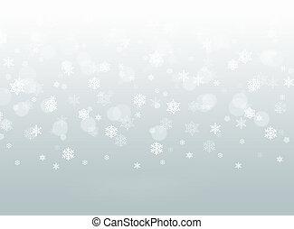 cadere, fiocchi neve, fondo, grigio