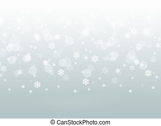 cadere, fiocchi neve, grigio, fondo