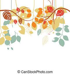 cadere, fondo, rami albero, e, foglie, in, colori luminosi, sopra, bianco