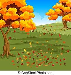 cadere, foresta autunno, fondo, foglie