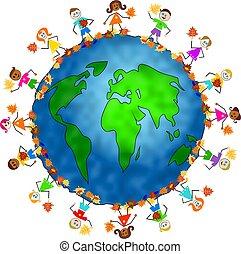 cadere, globale, bambini