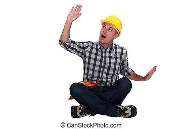 cadere, lavoratore costruzione, qualcosa