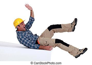 cadere, lavoratore costruzione, sopra