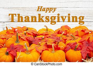 cadere, ringraziamento, foglie, zucche, augurio, arancia, felice