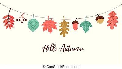 cadere, stagione, fondo, illustrazione, autunno