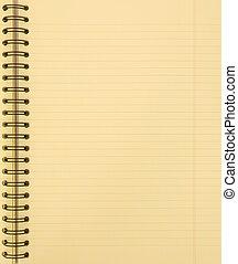 caderno, amarela, em branco