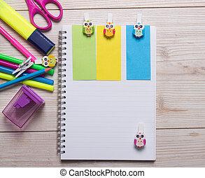 caderno, com, escola provê