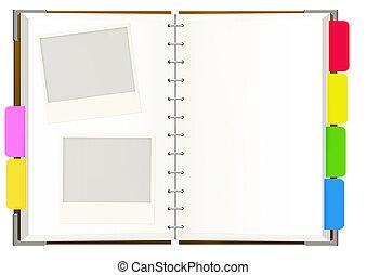 caderno, com, vazio, páginas