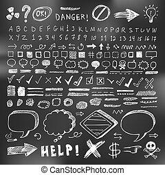 caderno, comunicação, mão, desenhado, caricatura, doodles