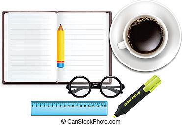 caderno, copo, ma, lápis, café