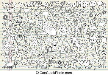 caderno, doodle, vetorial, jogo