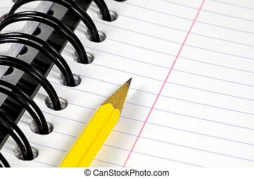 caderno, e, lápis
