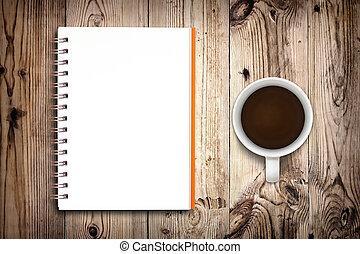 caderno, e, xícara café, isolado, ligado, madeira, fundo