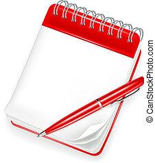 caderno espiral, com, caneta