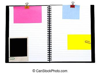 caderno espiral, e, notas